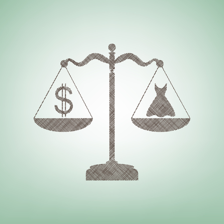 Dress and dollar symbol on scales. Vector. Brown flax icon on green background with light spot at the center. Illustration