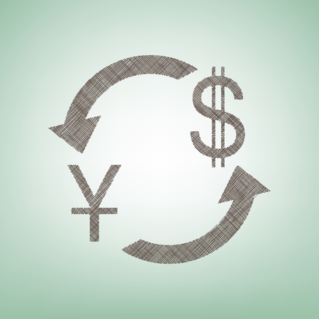 Currency exchange sign. China Yuan and US Dollar. Vector. Brown flax icon on green background with light spot at the center.