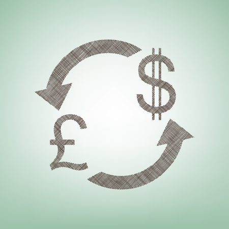 Currency exchange sign. UK: Pound and US Dollar. Vector. Brown flax icon on green background with light spot at the center.
