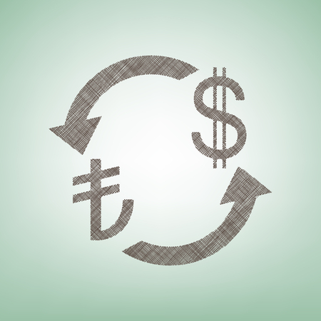 Currency exchange sign. Turkey Lira and US Dollar. Vector. Brown flax icon on green background with light spot at the center. Illustration