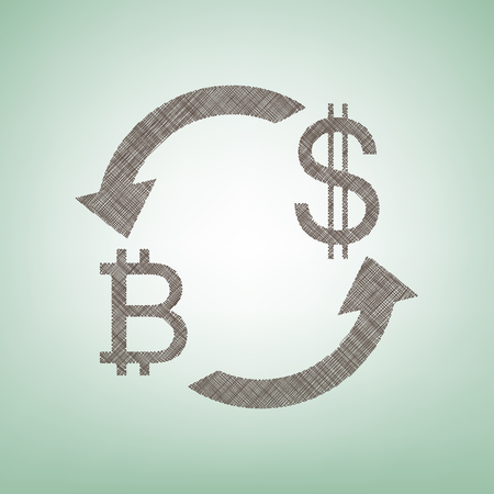 Currency exchange sign. Bitcoin and US Dollar. Vector. Brown flax icon on green background with light spot at the center.