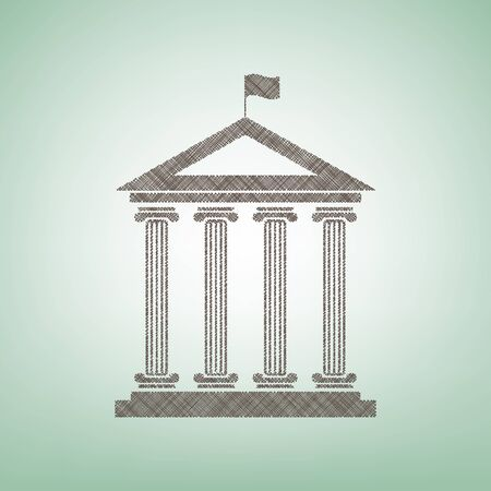 Historical building with flag. Vector. Brown flax icon on green background with light spot at the center. Illustration