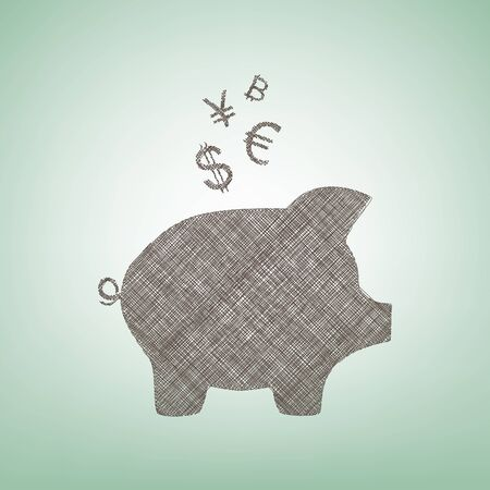 Piggy bank sign with the currencies. Vector. Brown flax icon on green background with light spot at the center.