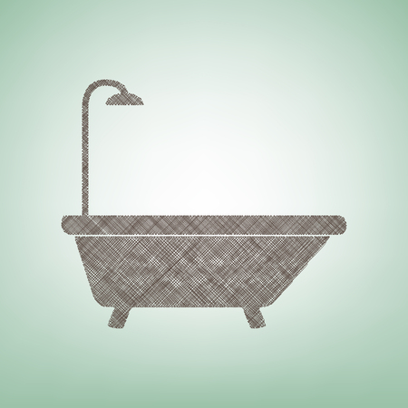 Bathtub sign. Vector. Brown flax icon on green background with light spot at the center.