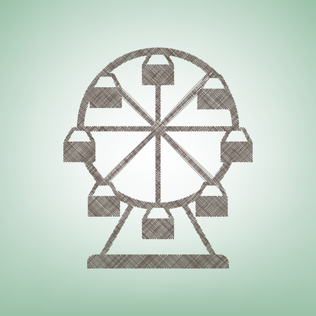 Ferris wheel sign. Vector. Brown flax icon on green background with light spot at the center.