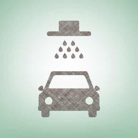 car wash: Car wash sign. Vector. Brown flax icon on green background with light spot at the center.