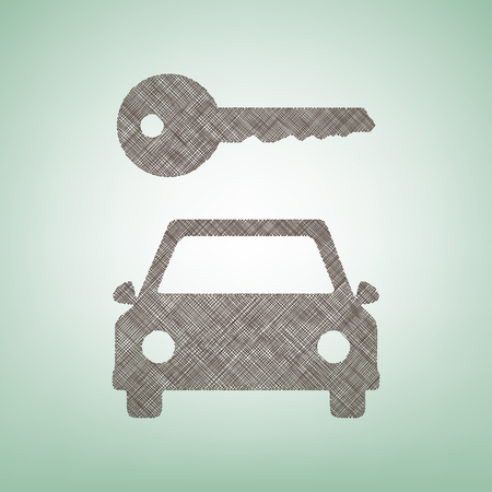 Car key simplistic sign. Vector. Brown flax icon on green background with light spot at the center.