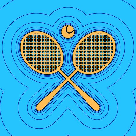 titanium: Two tennis racket with ball sign. Vector. Sand color icon with black contour and equidistant blue contours like field at sky blue background. Like waves on map - island in ocean or sea.
