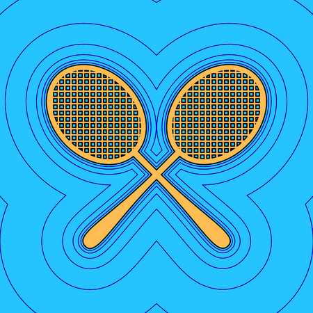 Two tennis racket sign. Vector. Sand color icon with black contour and equidistant blue contours like field at sky blue background. Like waves on map - island in ocean or sea.