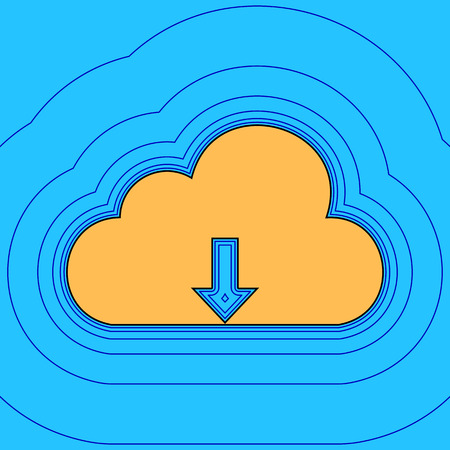Cloud technology sign. Vector. Sand color icon with black contour and equidistant blue contours like field at sky blue background. Like waves on map - island in ocean or sea.