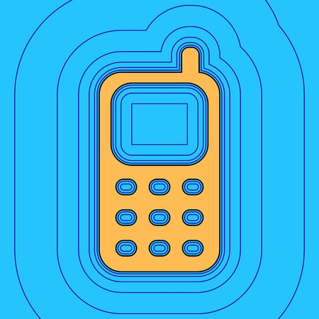 Cell Phone sign. Vector. Sand color icon with black contour and equidistant blue contours like field at sky blue background. Like waves on map - island in ocean or sea.