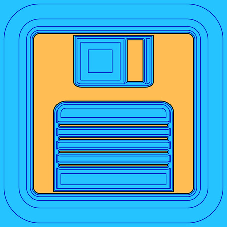 Floppy disk sign. Vector. Sand color icon with black contour and equidistant blue contours like field at sky blue background. Like waves on map - island in ocean or sea.