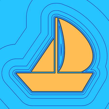 Sail Boat sign. Vector. Sand color icon with black contour and equidistant blue contours like field at sky blue background. Like waves on map - island in ocean or sea.