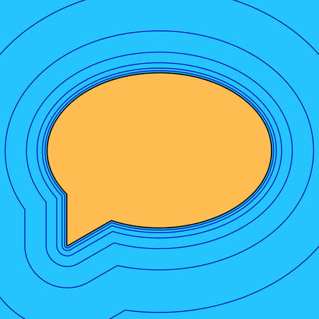 Speech bubble icon. Vector. Sand color icon with black contour and equidistant blue contours like field at sky blue background. Like waves on map - island in ocean or sea. 向量圖像