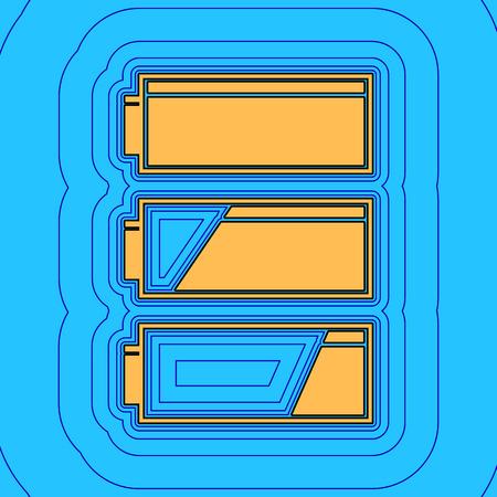 バッテリ充電レベル インジケーターをセットします。ベクトル。砂の色アイコン黒い輪郭と空色の背景にあるフィールドのような等距離にある青い