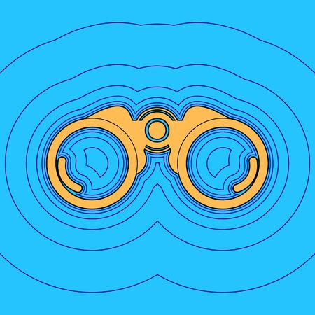 Binocular sign illustration. Vector. Sand color icon with black contour and equidistant blue contours like field at sky blue background. Like waves on map - island in ocean or sea.