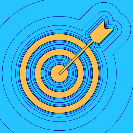Target with dart. Vector. Sand color icon with black contour and equidistant blue contours like field at sky blue background. Like waves on map - island in ocean or sea. Illustration