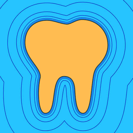 Tooth sign illustration. Vector. Sand color icon with black contour and equidistant blue contours like field at sky blue background. Like waves on map - island in ocean or sea. Illustration