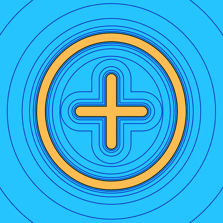 Positive symbol plus sign. Vector. Sand color icon with black contour and equidistant blue contours like field at sky blue background. Like waves on map - island in ocean or sea. 向量圖像