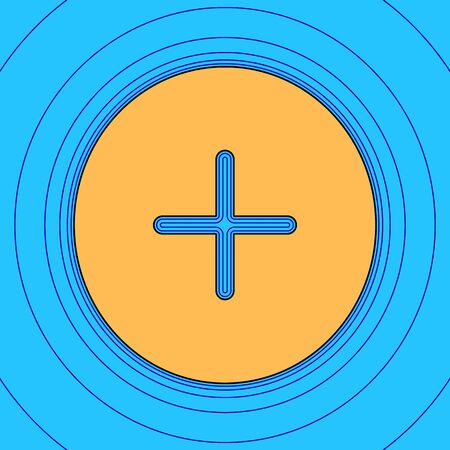 Positive symbol plus sign. Vector. Sand color icon with black contour and equidistant blue contours like field at sky blue background. Like waves on map - island in ocean or sea. Illustration