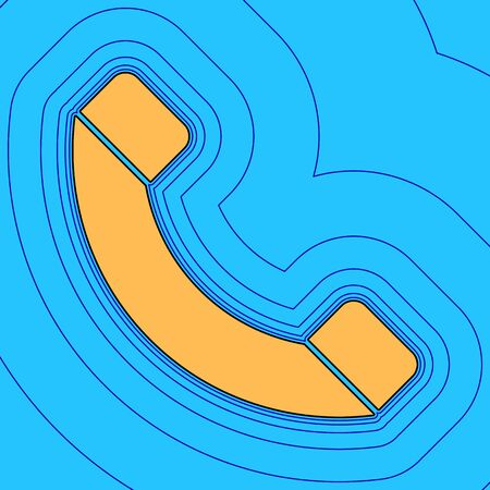 Phone sign illustration. Vector. Sand color icon with black contour and equidistant blue contours like field at sky blue background. Like waves on map - island in ocean or sea. 向量圖像