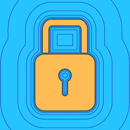 Lock sign illustration. Vector. Sand color icon with black contour and equidistant blue contours like field at sky blue background. Like waves on map - island in ocean or sea.
