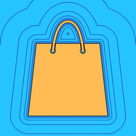 Shopping bag illustration. Vector. Sand color icon with black contour and equidistant blue contours like field at sky blue background. Like waves on map - island in ocean or sea.