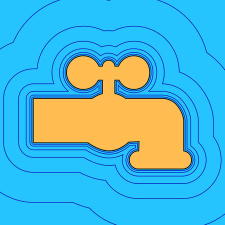 Water faucet sign illustration. Vector. Sand color icon with black contour and equidistant blue contours like field at sky blue background. Like waves on map - island in ocean or sea.