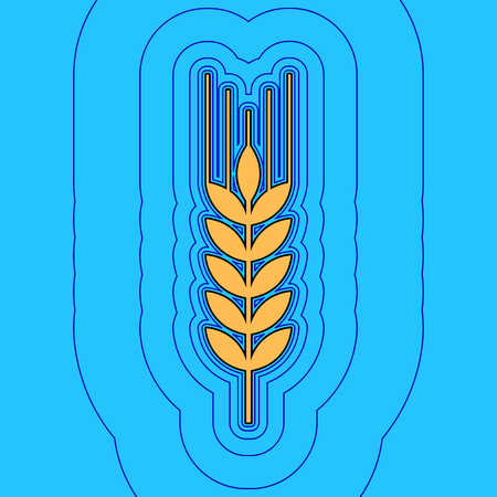 grain fields: Wheat sign illustration. Spike. Spica. Vector. Sand color icon with black contour and equidistant blue contours like field at sky blue background. Like waves on map - island in ocean or sea.