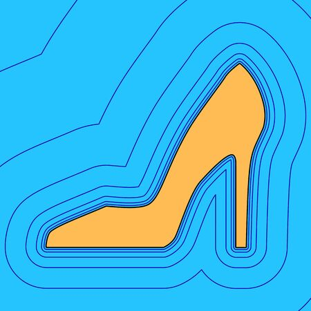 Woman shoe sign. Vector. Sand color icon with black contour and equidistant blue contours like field at sky blue background. Like waves on map - island in ocean or sea.