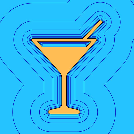 Cocktail sign illustration. Vector. Sand color icon with black contour and equidistant blue contours like field at sky blue background. Like waves on map - island in ocean or sea.