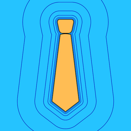 Tie sign illustration. Vector. Sand color icon with black contour and equidistant blue contours like field at sky blue background. Like waves on map - island in ocean or sea.