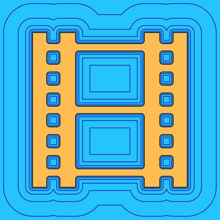 Reel of film sign. Vector. Sand color icon with black contour and equidistant blue contours like field at sky blue background. Like waves on map - island in ocean or sea. 向量圖像