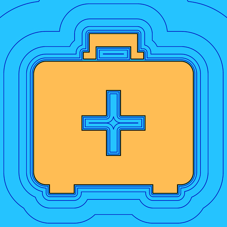 Medical First aid box sign. Vector. Sand color icon with black contour and equidistant blue contours like field at sky blue background. Like waves on map - island in ocean or sea.