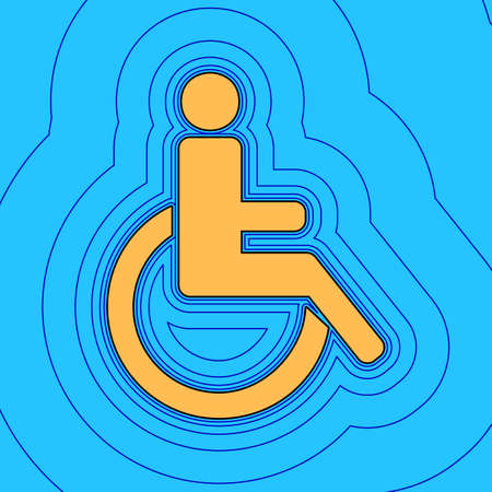 Disabled sign illustration. Vector. Sand color icon with black contour and equidistant blue contours like field at sky blue background. Like waves on map - island in ocean or sea. 向量圖像