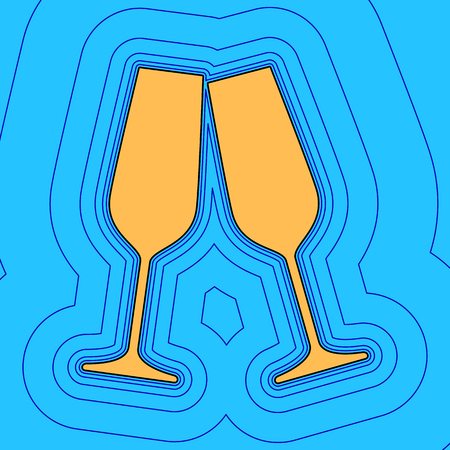 good friends: Sparkling champagne glasses. Vector. Sand color icon with black contour and equidistant blue contours like field at sky blue background. Like waves on map - island in ocean or sea.