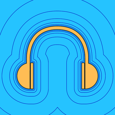 Headphones sign illustration. Vector. Sand color icon with black contour and equidistant blue contours like field at sky blue background. Like waves on map - island in ocean or sea. 向量圖像