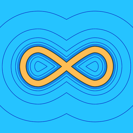 Limitless symbol illustration. Vector. Sand color icon with black contour and equidistant blue contours like field at sky blue background. Like waves on map - island in ocean or sea.