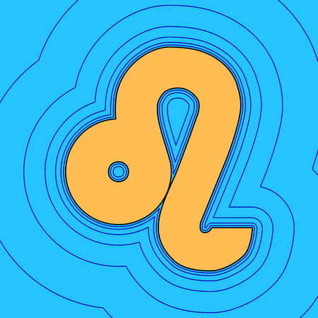 zodiac aquarius: Leo sign illustration. Vector. Sand color icon with black contour and equidistant blue contours like field at sky blue background. Like waves on map - island in ocean or sea.