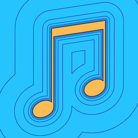 Music sign illustration. Vector. Sand color icon with black contour and equidistant blue contours like field at sky blue background. Like waves on map - island in ocean or sea. 向量圖像