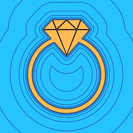 Diamond sign illustration. Vector. Sand color icon with black contour and equidistant blue contours like field at sky blue background. Like waves on map - island in ocean or sea.