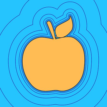 Apple sign illustration. Vector. Sand color icon with black contour and equidistant blue contours like field at sky blue background. Like waves on map - island in ocean or sea.