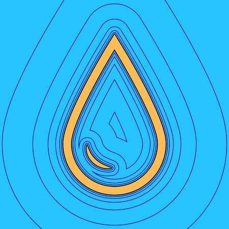 Drop of water sign. Vector. Sand color icon with black contour and equidistant blue contours like field at sky blue background. Like waves on map - island in ocean or sea. 向量圖像