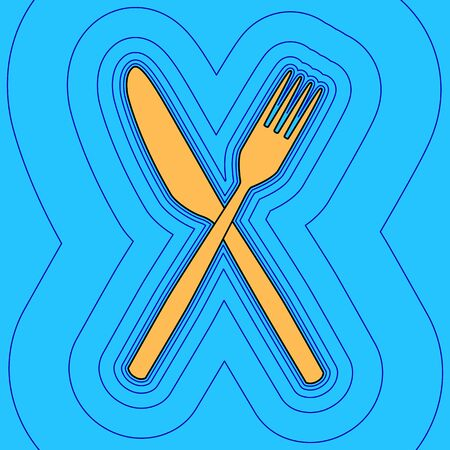 Fork and Knife sign. Vector. Sand color icon with black contour and equidistant blue contours like field at sky blue background. Like waves on map - island in ocean or sea.