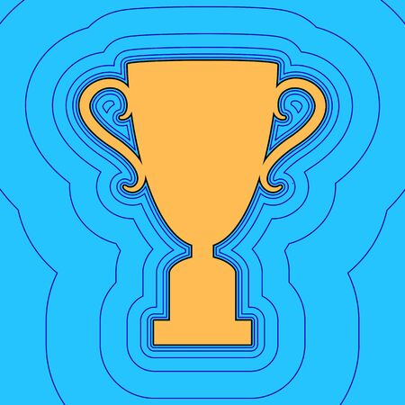 Champions Cup sign. Vector. Sand color icon with black contour and equidistant blue contours like field at sky blue background. Like waves on map - island in ocean or sea.
