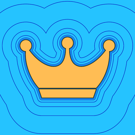 King crown sign. Vector. Sand color icon with black contour and equidistant blue contours like field at sky blue background. Like waves on map - island in ocean or sea.