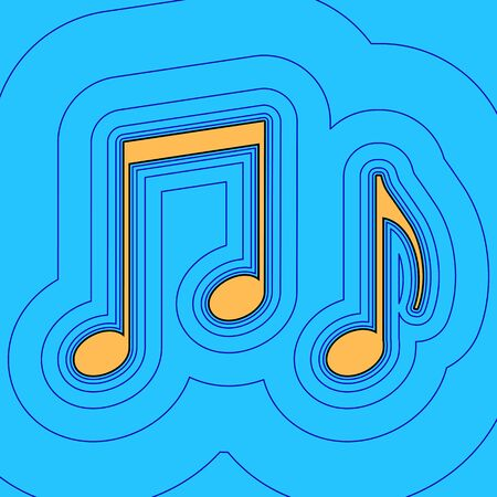 Music notes sign. Vector. Sand color icon with black contour and equidistant blue contours like field at sky blue background. Like waves on map - island in ocean or sea.