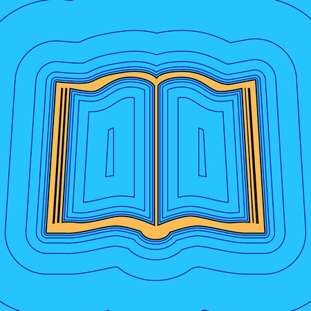 Book sign. Vector. Sand color icon with black contour and equidistant blue contours like field at sky blue background. Like waves on map - island in ocean or sea.