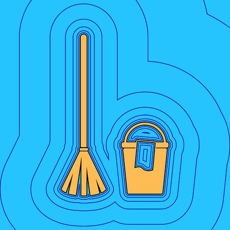 Broom and bucket sign. Vector. Sand color icon with black contour and equidistant blue contours like field at sky blue background. Like waves on map - island in ocean or sea.