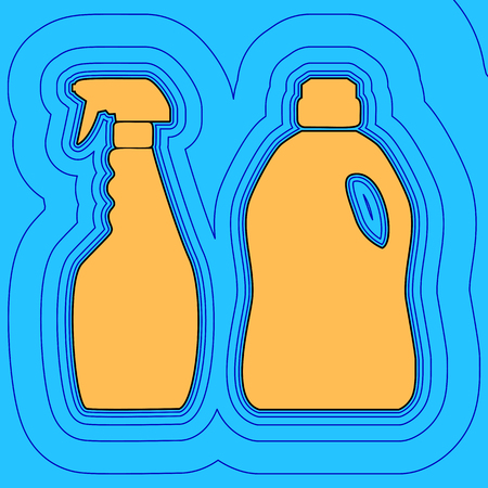 Household chemical bottles sign. Vector. Sand color icon with black contour and equidistant blue contours like field at sky blue background.
